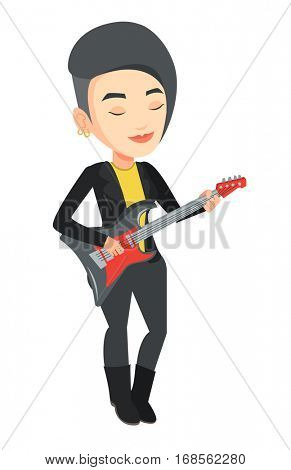 Caucasian musician playing electric guitar. Woman practicing in playing guitar. Female guitarist with eyes closed playing music on guitar. Vector flat design illustration isolated on white background.