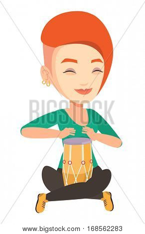 Young woman with eyes closed playing ethnic drum. Caucasian musician playing ethnic drum. Woman playing ethnic music on tom-tom. Vector flat design illustration isolated on white background.