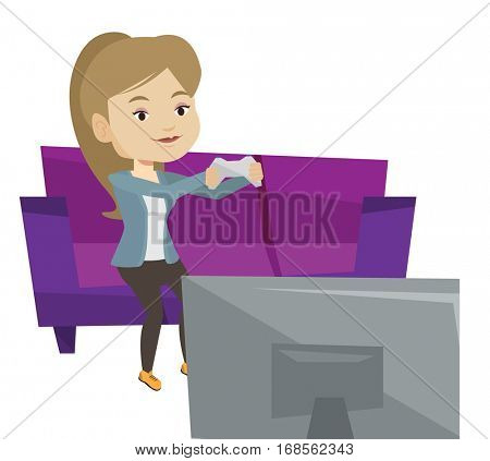 Caucasian happy woman sitting on a sofa and playing video game. An excited young woman with console in hands playing video game at home. Vector flat design illustration isolated on white background.