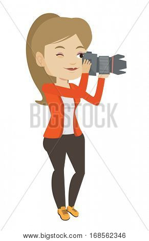 Female photographer taking a photo. Young photographer taking a picture. Caucasian photographer working with digital camera. Vector flat design illustration isolated on white background.