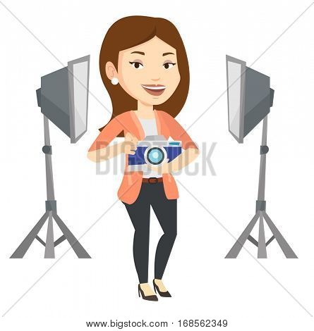 Caucasian photographer holding camera in photo studio. Photographer using professional camera in the studio. Photographer taking a photo. Vector flat design illustration isolated on white background.