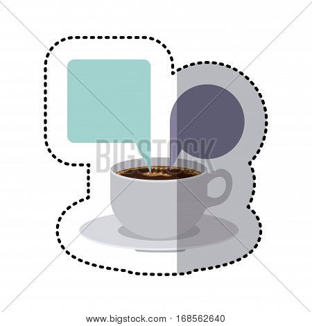sticker colorful set porcelain cup coffee with dialogue callout box vector illustration