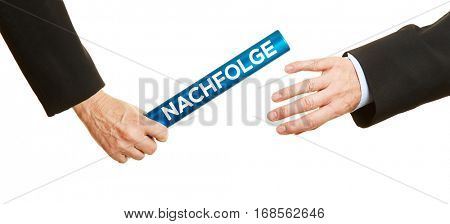 Business hands passing blue baton with german word