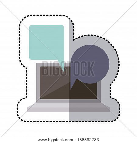 sticker colorful tech laptop screen with keyboard with dialogue callout box vector illustration