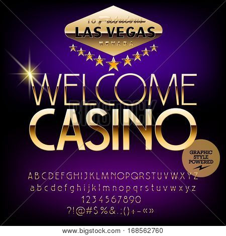Vector casino sign Welcome casino. Set of letters, numbers and symbols. Contains graphic style.