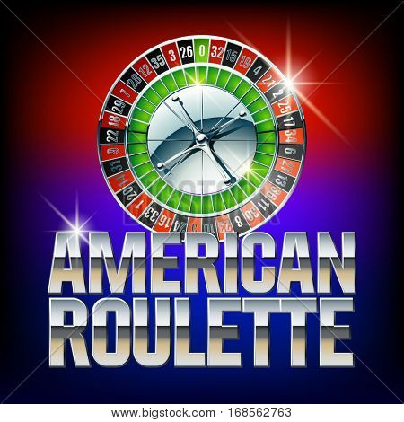 Vector casino card American roulette. Set of letters, numbers and symbols. Contains graphic style.