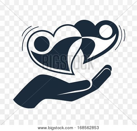 Hand Holds Two Loving Hearts Black And White I