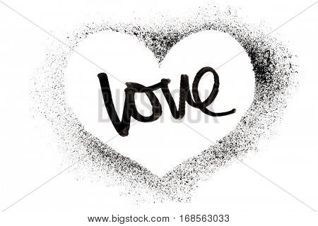 Love - Stenciled heart isolated on the white background