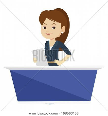 TV anchorwoman working at studio. Caucasian television anchorwoman at studio during live broadcasting. Tv anchorwoman reporting the news. Vector flat design illustration isolated on white background.