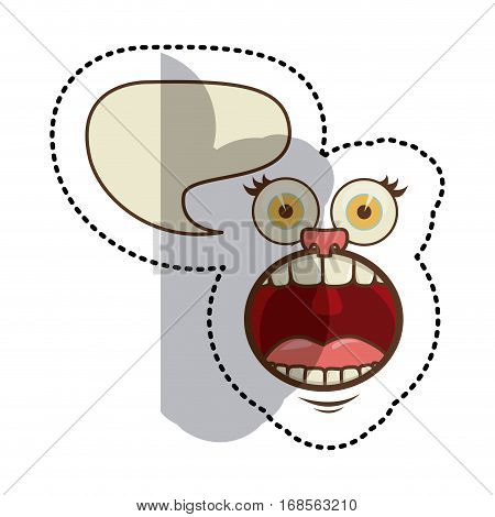 sticker colorful face cartoon gesture with dialog irregular box vector illustration