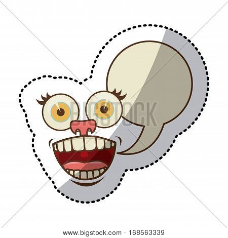 sticker colorful smile face cartoon gesture with dialog oval box vector illustration