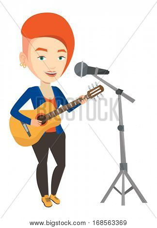 Caucasian woman playing guitar. Guitar player singing song and playing an acoustic guitar. Vector flat design illustration isolated on white background.