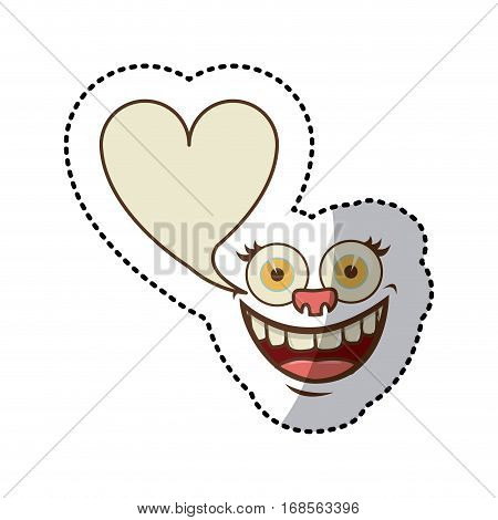 sticker colorful face cartoon gesture with dialog heart shape box vector illustration
