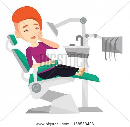 Young caucasian patient visiting dentist because of toothache. Sad patient suffering from toothache. Woman having a strong toothache. Vector flat design illustration isolated on white background.