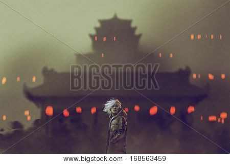 young man standing against ancient temple with red lights, illustration painting