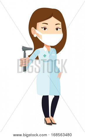 Caucasian ear nose throat doctor holding medical tool. Young doctor in medical gown with tools used for examination of ear, nose, throat. Vector flat design illustration isolated on white background.