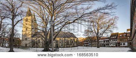 QUEDLINBURG GERMANY - JAN 8 2016: scenic old half timbered houses in Quedlinburg Germany. The town is known to have existed since at least the early 9th century.