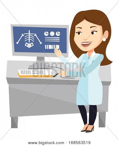 Caucasian doctor examining a radiograph. Doctor looking at a chest radiograph on computer screen. Doctor observing a skeleton radiograph. Vector flat design illustration isolated on white background.