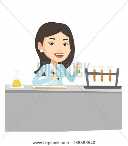 Caucasian laboratory assistant working with a test tube and taking some notes. Young laboratory assistant analyzing liquid in test tube. Vector flat design illustration isolated on white background.