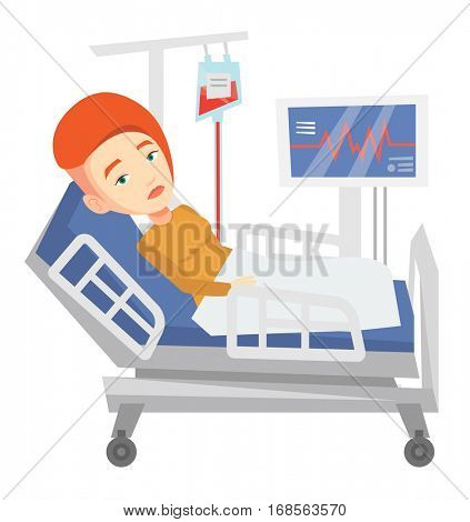 Young woman lying in bed in hospital. Patient resting in hospital bed with heart rate monitor. Patient during blood transfusion procedure. Vector flat design illustration isolated on white background.