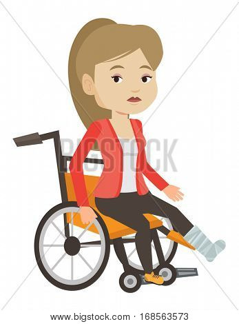 Sad woman with leg in plaster. Injured upset woman sitting in wheelchair with broken leg. Woman with fractured leg suffering from pain. Vector flat design illustration isolated on white background.
