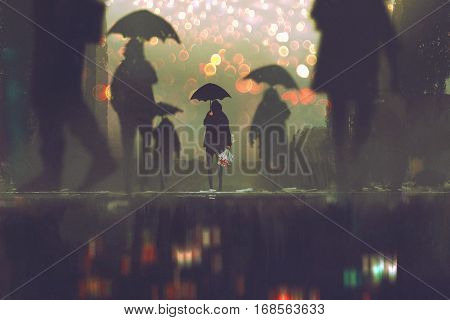 man with flowers bouquet holding umbrella standing alone in a crowds of people crossing the street on a rainy night, illustration painting