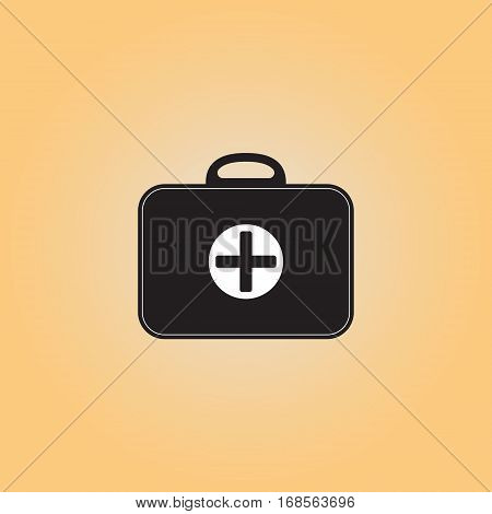 Medicine chest vector sign. First aid kit vector icon. Medical bag flat illustration. Medic box isolated image.  Medical help service button.