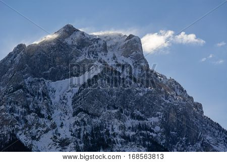 North face of the Pic de Morgon (Grand Morgon peak) in early winter morning light. Hautes-Alpes Southern French Alps France