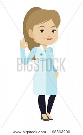 Happy female doctor in medical gown showing ok sign. Smiling doctor gesturing ok sign. Young caucasian doctor with ok sign gesture. Vector flat design illustration isolated on white background.