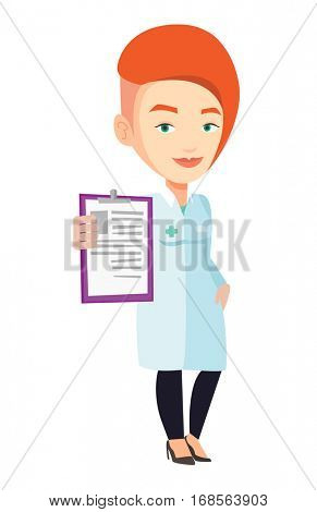 Young doctor showing clipboard with prescription. Female doctor in medical gown holding clipboard. Caucasian doctor with patient records. Vector flat design illustration isolated on white background.
