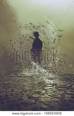 silhouette of man standing in storm of coinsa lot of money concept illustration painting