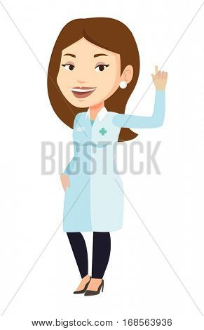 Female doctor in medical gown showing finger up. Young caucasian doctor with finger up. Woman in doctor uniform pointing finger up. Vector flat design illustration isolated on white background.