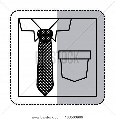 sticker square silhouette close up formal shirt with dotted necktie vector illustration