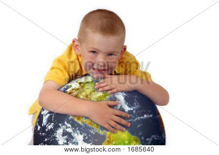 Little Boy Hugging Planet Earth