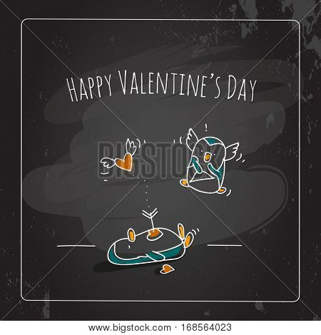 Valentine's day greeting card, doodle style vector illustration, chalk on blackboard. Cute penguins couple with heart, love symbol.