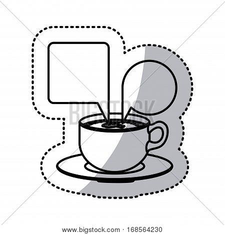 sticker contour set porcelain cup coffee with dialogue callout box vector illustration