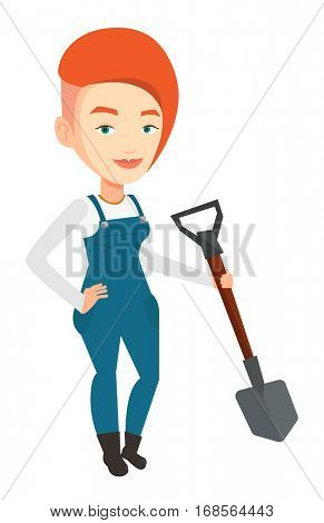 An adult farmer standing with a shovel. Smiling caucasian farmer holding a shovel in hand. Farmer is going to plow an agricultural field. Vector flat design illustration isolated on white background.