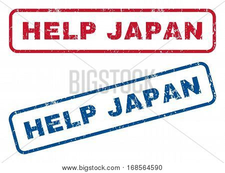Help Japan text rubber seal stamp watermarks. Vector style is blue and red ink caption inside rounded rectangular banner. Grunge design and dust texture. Blue and red stickers.