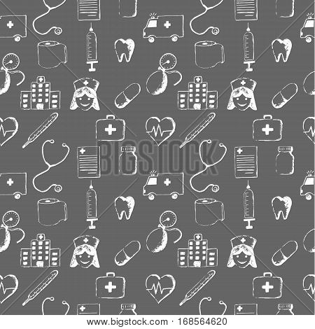 Gray seamless pattern-medical items. This illustration is drawn with a pencil.