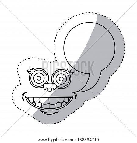 sticker contour face cartoon gesture with dialogue callout box vector illustration