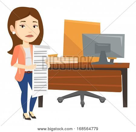 Sad business woman standing in office with long bill. Disappointed business woman holding long bill. Business woman looking at long bill. Vector flat design illustration isolated on white background.