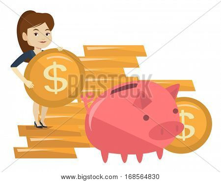 Business woman putting money in a big piggy bank. Young caucasian business woman saving her money in piggy bank. Concept of saving money. Vector flat design illustration isolated on white background.