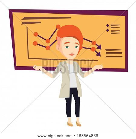 Stressed bankrupt standing on the background of decreasing chart. Bankrupt business woman with spread arms. Business bankruptcy concept. Vector flat design illustration isolated on white background.