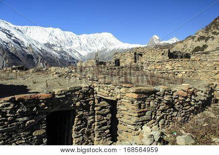 Nepali Village In Himalayas Mountains. Manaslu Curciut Trek