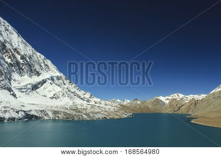 Tilicho Lake ( 4,919 M ) In The Annapurna Range Of The Himalayas