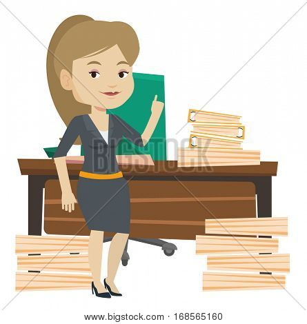 Woman pointing finger up on the background of lots of documents. Woman came up with the idea how to cope with large amount of documents. Vector flat design illustration isolated on white background.