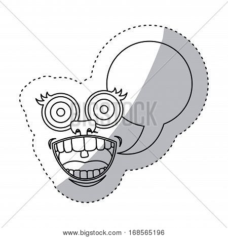 sticker contour smile face cartoon gesture with dialog oval box vector illustration