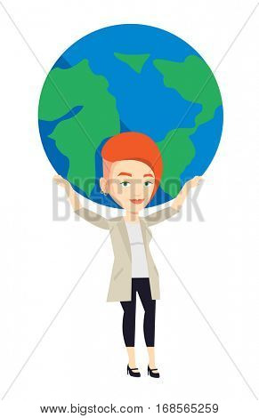 Caucasian businesswoman holding big Earth globe over head. Happy businesswoman taking part in global business. Concept of global business. Vector flat design illustration isolated on white background.