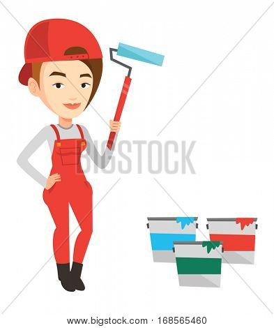 Caucasian female painter in uniform holding paint roller in hands. Young house painter at work. Female painter standing near paint cans. Vector flat design illustration isolated on white background.