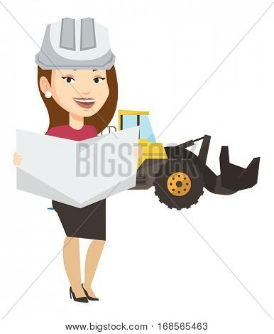 Caucasian engineer watching a blueprint at construction site. Female engineer with blueprint standing on the background of excavator. Vector flat design illustration isolated on white background.